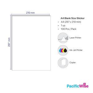 A4 Simili Sticker Label 1 Up 210mm x 297mm (100'S)