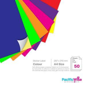 A4 Simili Colour Sticker Label 1 Up 210mm x 297mm (50'S)