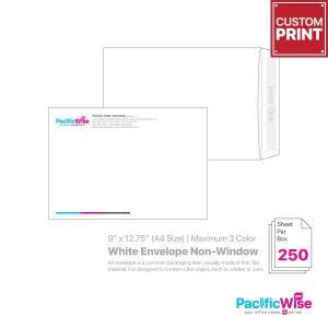 """Customized Printing White Envelope Non-Window 9"""" x 12.75"""" (A4)"""
