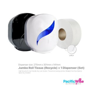(Material : Recycle) - Jumbo Roll Towel (JRT) + Jumbo Roll Tissue Dispenser (Set)