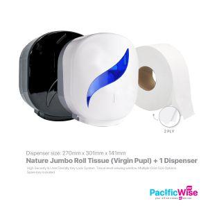 (Material : Pure Pulp) - Nature Jumbo Roll Towel (JRT) + Jumbo Roll Tissue Dispenser (Set)